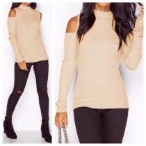 Ausschnitt Schulter Sexy Pure Basic Sweater 23090-5