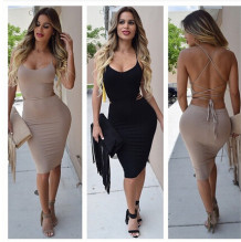 Stylish Solid Color Backless Bodycon Dress  16511