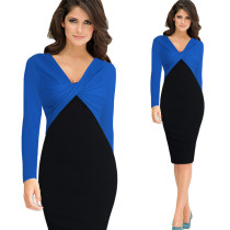 Blue Black Patchwork Pencil Midi Dress  19211-2