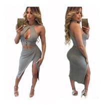 Sexy grijze tweedelige jurk 20517