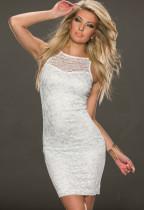 Ünlü Beyaz Dantel Clubwear Elbise 14346-2