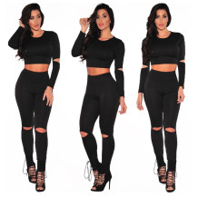 Plain Color Ripped Crop Top and Pant Set 23589-1