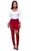 Ausgeschnittene, hoch taillierte Jeans 23653-3