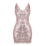 Vestido de festa de cintas de ouro lantejoulas sexy 23885-1
