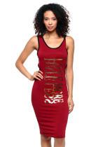 Vestido camisero largo estampado de camisas deportivas rojas 21755-3