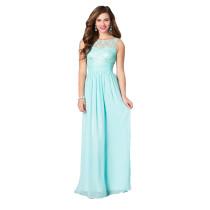 Elegantes festes himmelblaues Chiffon-Partykleid mit ärmellosem Gürtel für Damen 17445-3