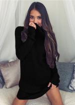Turn Down Yaka 23838-2 ile Gevşek Gömme Sheer Kazak Elbise