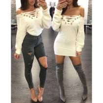 Sexy White Lace-Up Knitted Top 23233