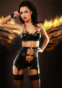 Strappy Cutout High Waist Leather Lingerie 18627