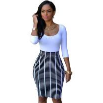 3 / 4 Sleeve Vestito aderente bianco e nero 21550