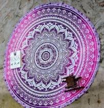 Tapis de yoga - Serviette de plage, couverture ronde, imprimé bohémien, indien 21035