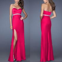 Hoge dij gesneden strapless maxi-jurk 15062-2
