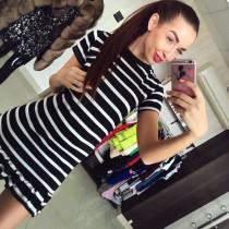 Mini vestido a rayas de tela de algodón con dobladillo con volantes 20578-1