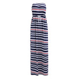 Vestido largo tubo azul a rayas 20365