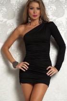 Elegante vestido mini acanalado con mangas abiertas y hombros 11077
