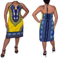 Nationales Totem gelbes bedrucktes afrikanisches Kleid 22557-5