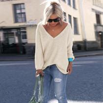 Einfarbig V-Ausschnitt Langarm Pullover Pullover 21759-4