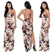 Vestido largo sin espalda con flores sexy 21987
