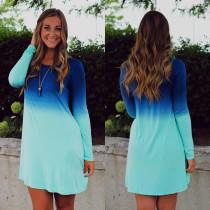 Leuke geleidelijke verandering blauwe kleur lange mouwen Casual jurk 17472