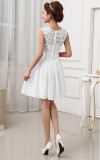 White Sexy Lace Overlay Chiffon Skater Dress 16510