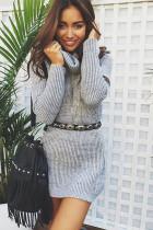 Turn Down Yaka 23838-3 ile Gevşek Gömme Sheer Kazak Elbise