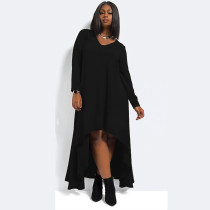 Solid Black V-Ausschnitt Stylish Loose Plus Size Dress 18902-1