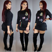 Bedruckte schwarze Sweatshirts 22981