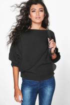 Fledermausärmel Plain Pullover Pullover mit Slashschultern 22990-1