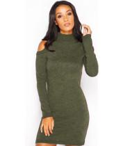 Vestido de suéter liso recortado hombro 23245-2