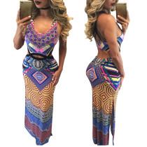 Sexy U neck Cut Out Print Long Dress  21571