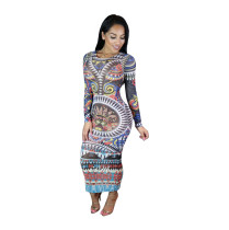 African Print Long Sleeve Bodycon Dress 19476