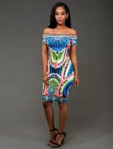 Vestido Ajustado Estampado Africano Con Slash Hombro 20801