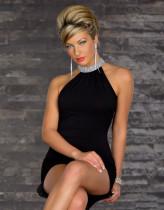 Pullu Kenar Yaka Mini Elbise 11607