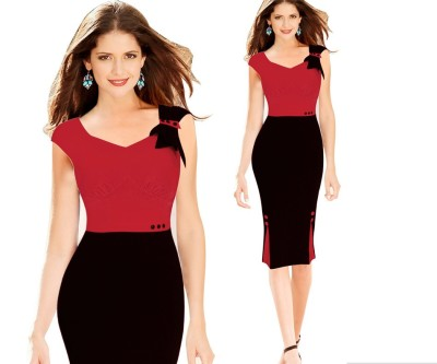 Элегантное женское U-образное вырезанное красно-черное стильное платье скинни Midi 17439-1