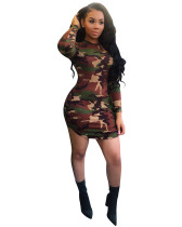 Rundhalsausschnitt Langarm Camouflage, figurbetontes Kleid 24411