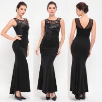 Elegantes schwarzes Meerjungfrau ärmelloses Abendkleid 24472