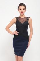 Ärmelloses, figurbetontes Kleid mit Spitzenmotiv in Royal Blue 24193-1