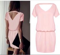 Vestido informal con manga corta y abertura en la espalda de Sweety Pink 24077-1