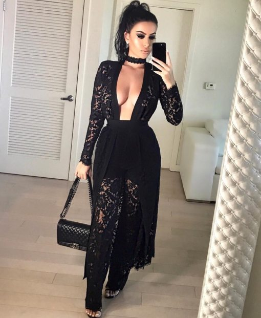 Fashion Plunge Neck Black Lace 2 Piece Set  24205