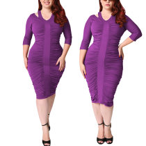 Half Sleeve Shoulder Cutout Purple Plus Size Folded Bodycon Dress 24356-2