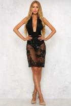 Sexy Black Applique Back Cross Party Dress 24056-1
