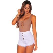 Shorts de mezclilla con botones de cintura alta Wihte para mujer 24352-3