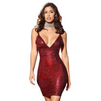 Vestido de Festa de Listras Vermelhas Sexy com Lantejoulas 23885-3