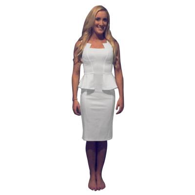 Прозрачное офисное платье с баской 24034-3
