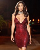 Sexy Sequins Red Straps Party Dress 23885-3