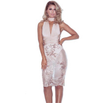 Sexy Champagne Applique Back Cross Party Dress 24056-3