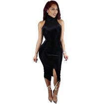 Black Velvet High Neck Sleeveless Bodycon Party Dress 24710-1