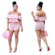 Sweet Pink Ruffle Off Short de dos piezas de hombro 24766-1