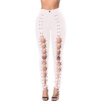 Pantalones de cintura alta con cordones en el frente y huecos en blanco 25007-2