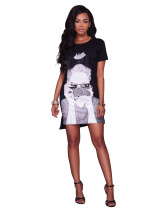 Stilvolles Musterdruck-Kurzarm-T-Shirt 24760